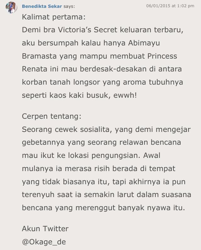 Menulis Kalimat Pertama Sebuah Cerita Mandewi